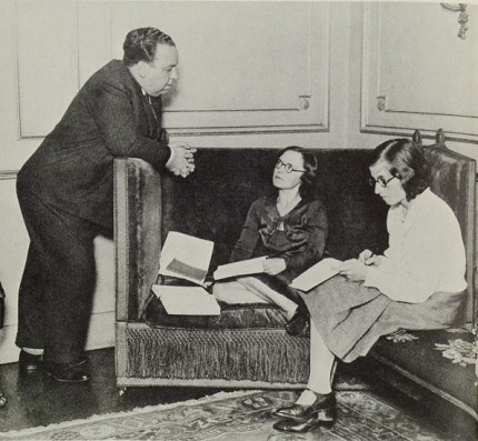 Alfred and Alma Hitchcock in their 153 Cromwell Road sitting room with a production secretary, right, taking notes. The photograph above comes from The Life of Alfred Hitchcock: the Dark Side of Genius by Donald Spoto.