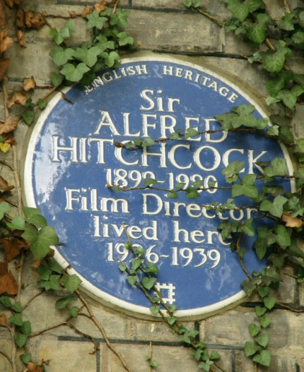 The plaque celebrating Alfred Hitchcock's residency at 153 Cromwell Road Kensington from 1926 to 1939