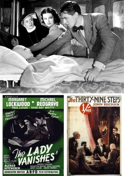 "Above, Hitchcock film posters; top, a still from ""The Lady Vanishes"""