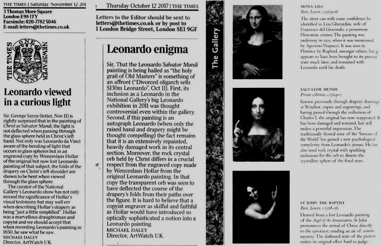 32de944a2a9 ArtWatch warnings on the Salvator Mundi s Leonardo attribution  1) On 11  November 2011 we pointed out (letter